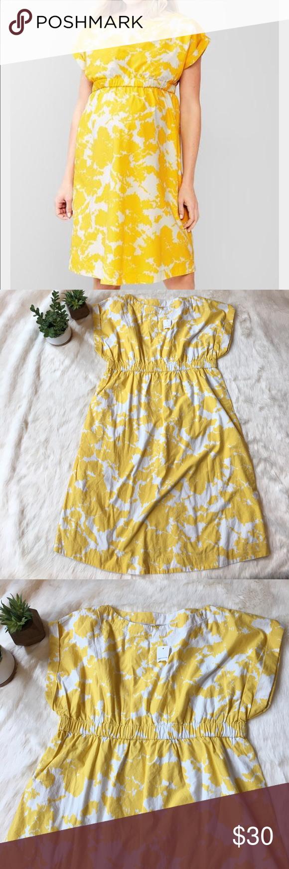 Nwt Gap Maternity Dress Yellow White Maternity Dresses Dresses Yellow Dress [ 1740 x 580 Pixel ]