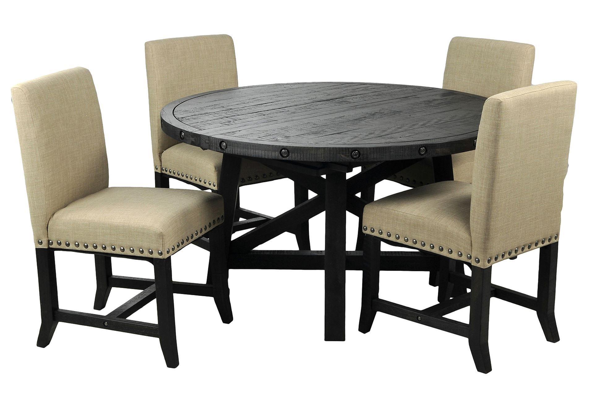 Best Jaxon 5 Piece Round Dining Set W Upholstered Chairs 400 x 300