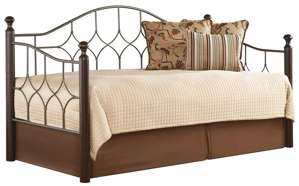 Amazon.com: Bianca Complete Metal Daybed with Arched Back Panel and Euro Top Deck, Hammered Pewter Finish, Twin: Home & Kitchen