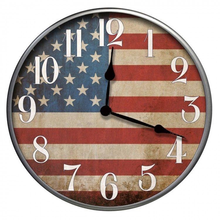 Wall American Flag Clock 12 Round Analog Standard Aradic Display Home Decor Easy Shopping08 Wall Clock Clock American Flag