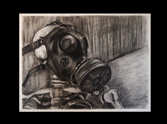 Charcoal Drawing, Skeleton Gas Mask Still Life, Dystopia ...