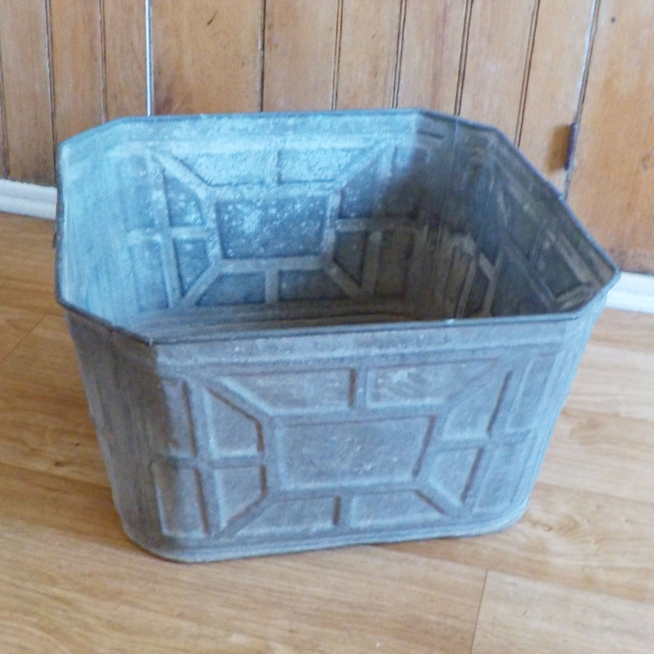 Vintage Galvanized Wash Tub Large Square • No. 3 Geometric Pattern ...