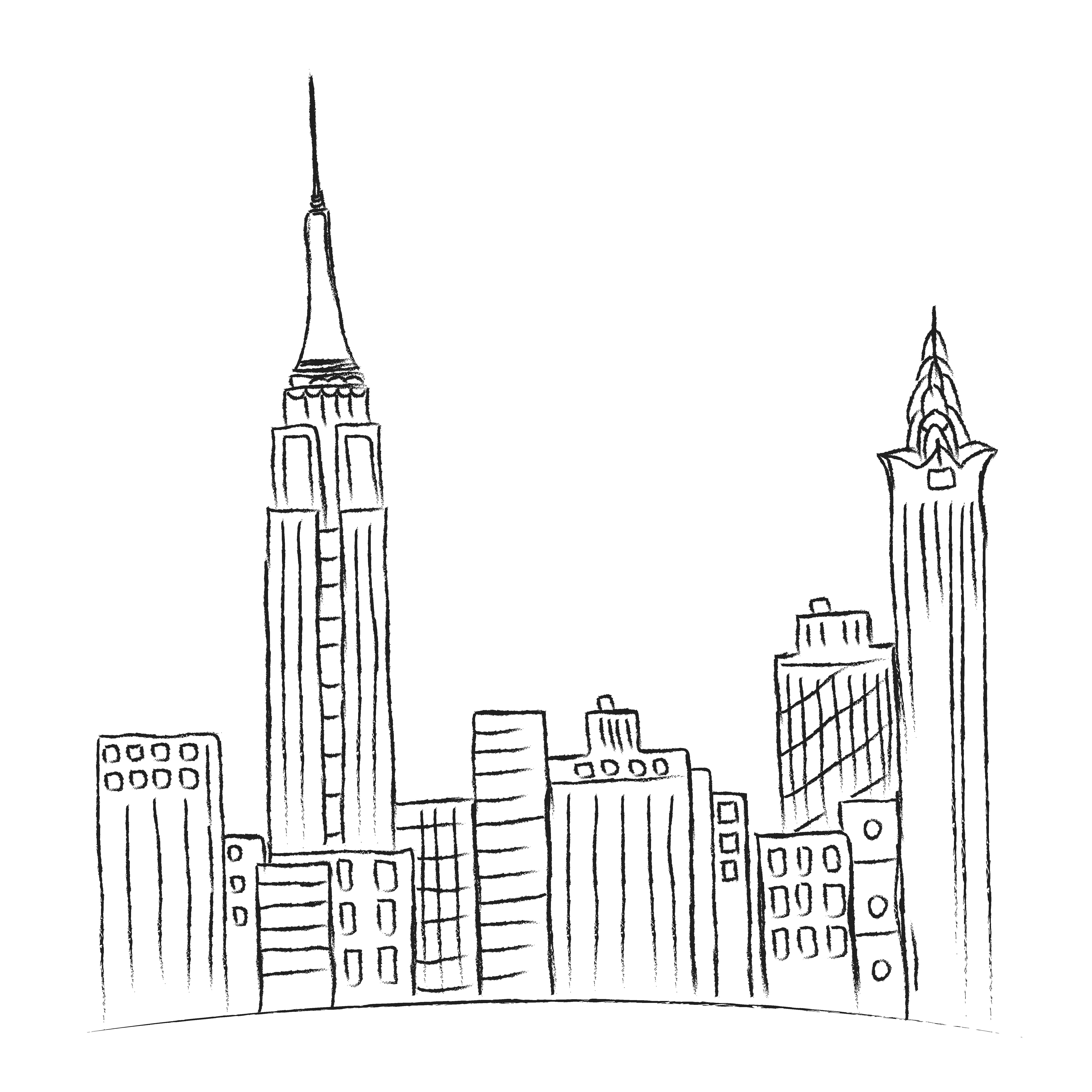 Line Art City : New york city sketch vector by sunshine on