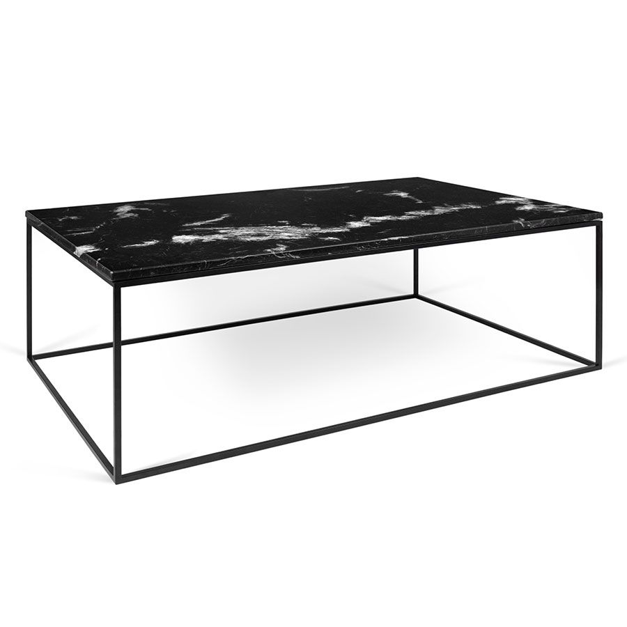 Gleam Long Marble Coffee Table Black Black Marble Coffee Table