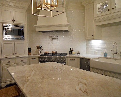 White Macaubas Quartzite Slab In A Kitchen