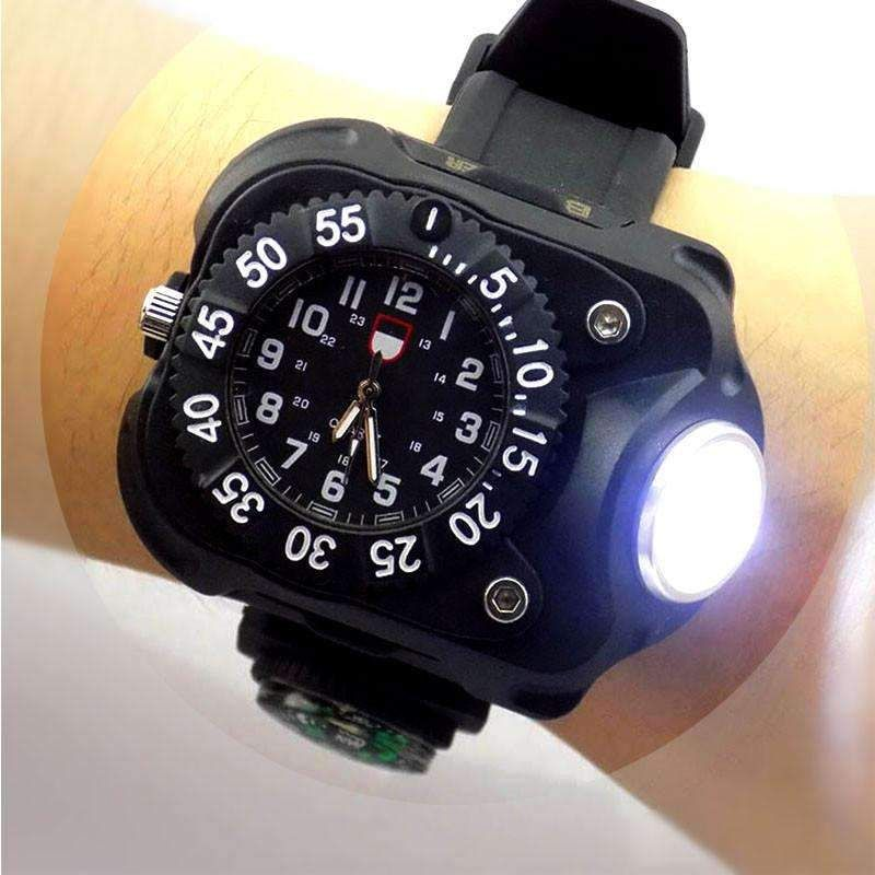 3 In 1 Bright Watches Light Flashlight With Compass Outdoor Sports Mens Fashion Waterproof Led Bicycle Cyc Light Flashlight Flashlight Waterproof Led