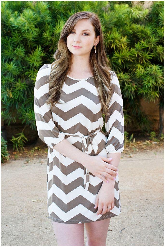Back to Basics Chevron Shift Dress - Mocha