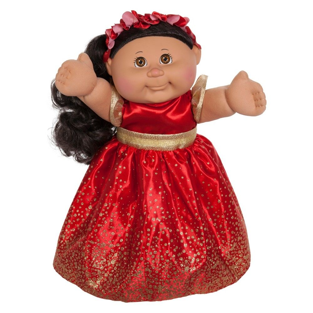 Cabbage Patch Kids Holiday Baby Doll Brunette Hair Brown Eyes Red Dress 11 Cabbage Patch Kids Patch Kids Holiday Baby
