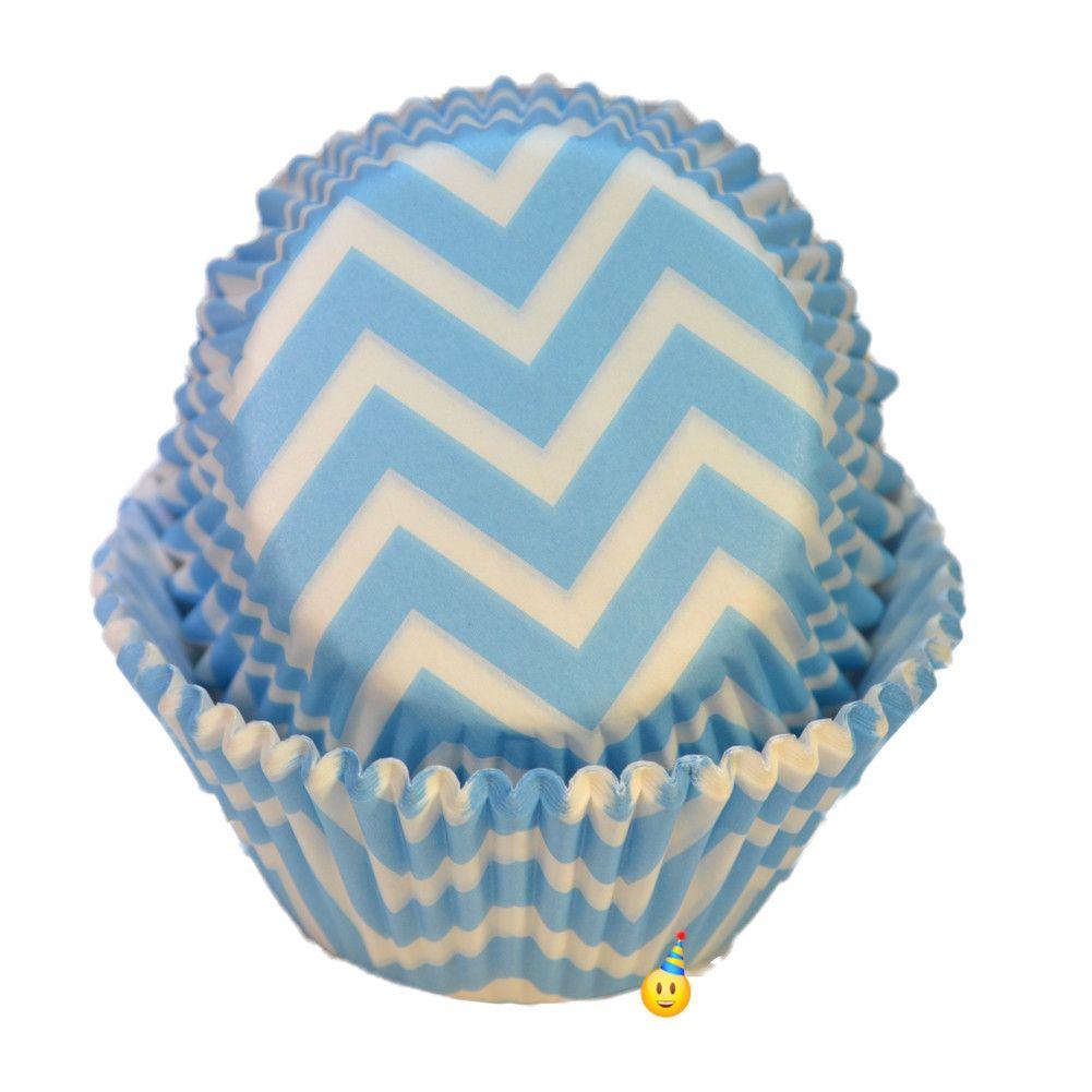 Cupcake Cups Chevron Powder Blue White 24 Cupcake In A Cup