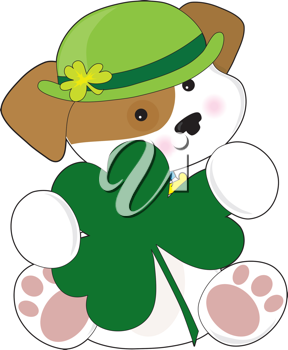 Iclipart Royalty Free Cartoon Clip Art Illustration Of A St Patrick S Day Puppy With A Shamrock St Patricks Crafts Cartoon Clip Art Clip Art