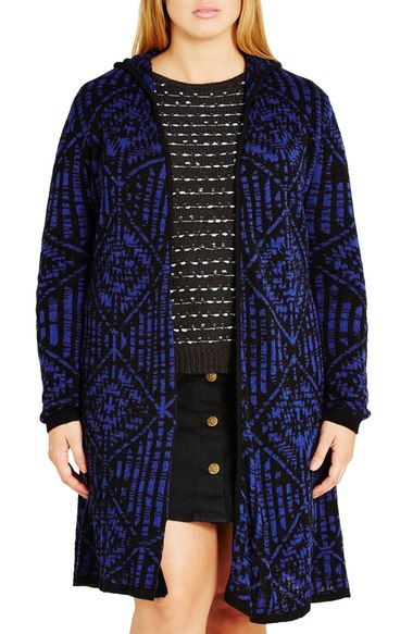 886aa6c29fbc City Chic Geo Pattern Hooded Cardigan (Plus Size) available at ...