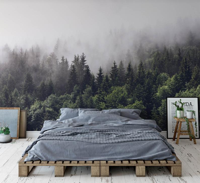 foggy forest wall mural misty gray mountain wallpaper dark