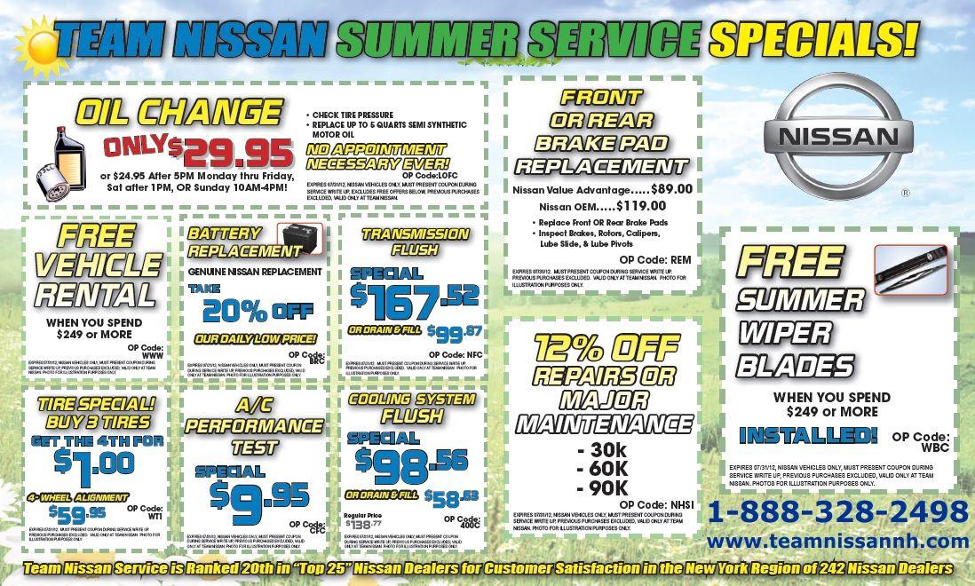 Our Summer Service Specials! teamnissan specials summer