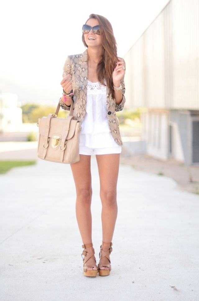 Black blazer, white beater and cut off jean shorts and tan wedge ...