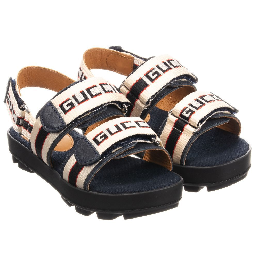 2992fc7ff Gucci - Ivory & Blue Logo Sandals | Childrensalon Navy Blue Sandals, Velcro  Straps,