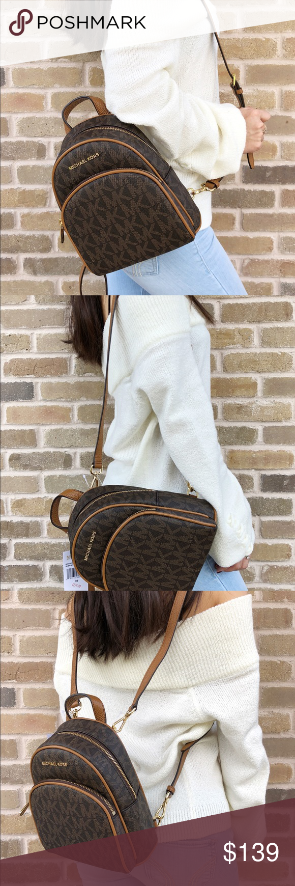 Michael Kors Abbey Mini BackpackBrown Extra Small Michael Kors Abbey Mini  Backpack Crossbody Brown MK Signature Acorn Extra Small Color  Brown ... 837a4feab90f9