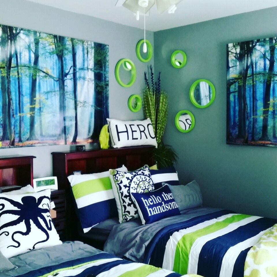 Finished My Sons Room! Lime Green And Navy Bedroom!