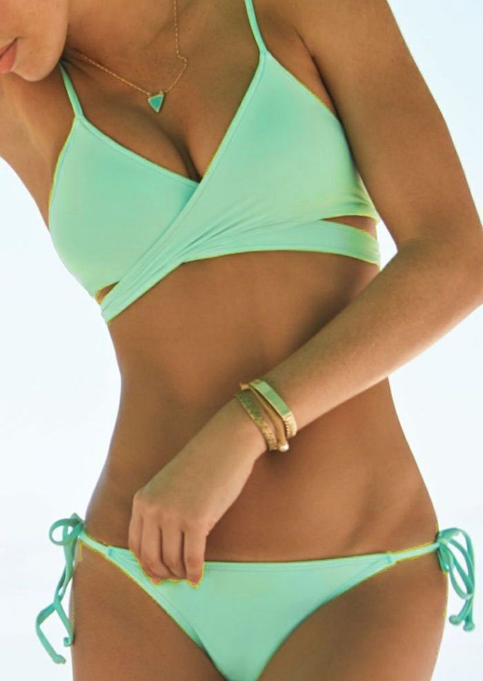 90094b70aaf6 Love the crossover wrap style of this pretty bathing suit on Belle Lily!  Mint Green Bikini simple and sophisticated.