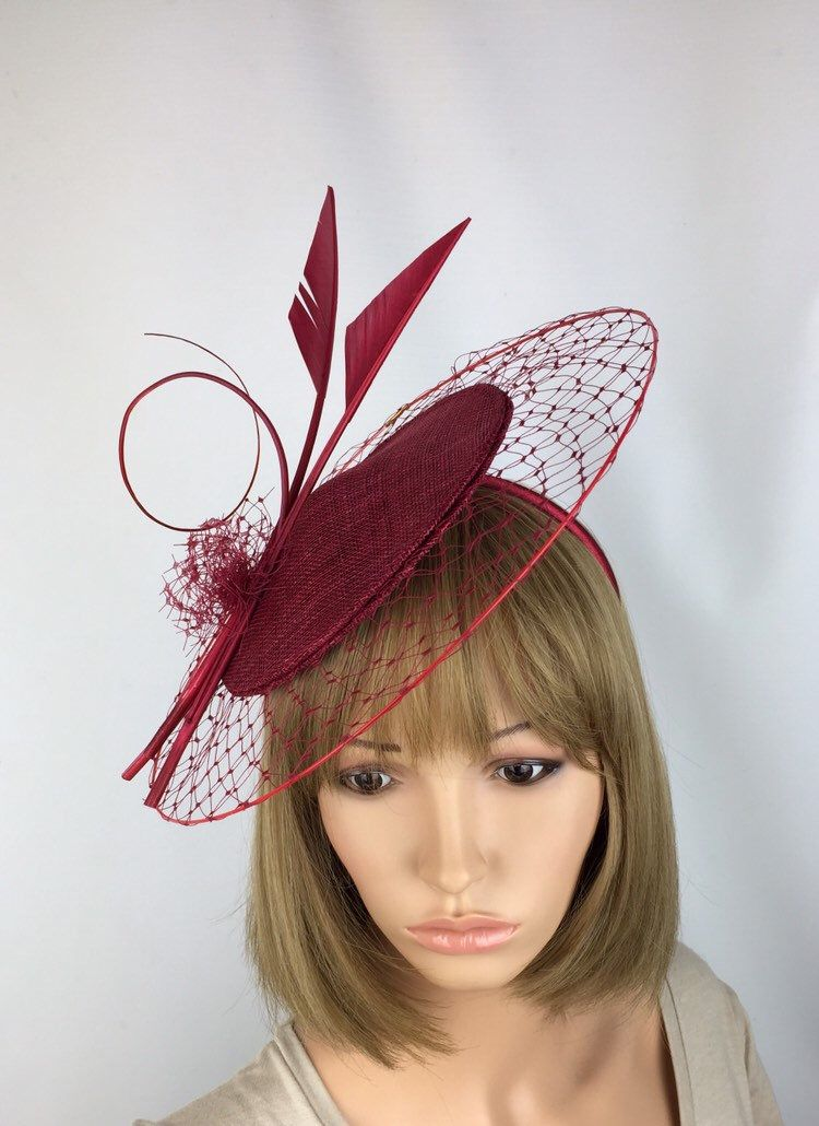 bright red feather headband fascinator millinery wedding hat bridal party ascot