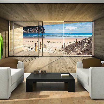 Photo Wallpaper Giant Nature Beach Window Effect Wall Mural 3308ve