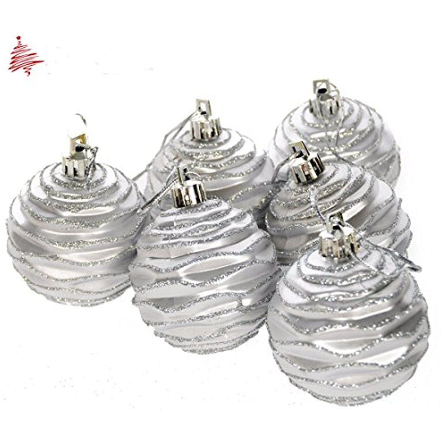 Christmas Ball Ornaments Tree Decorations,Trees Clear Shatterproof Set Of 6,