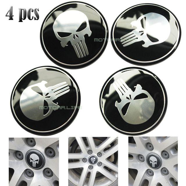 4pcs 60mm Punisher Logo Car Steering Wheel Center Hub Cap Emblem