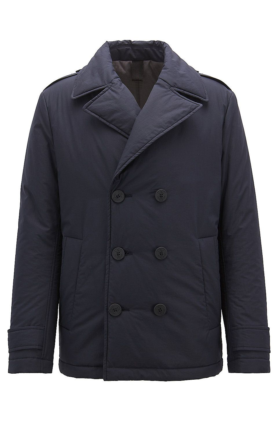 592e84a17931 HUGO BOSS Caban coat in waxed cotton with PrimaLoft® insulation - Dark Blue Casual  Coats from BOSS for Men in the official HUGO BOSS Online Store free ...