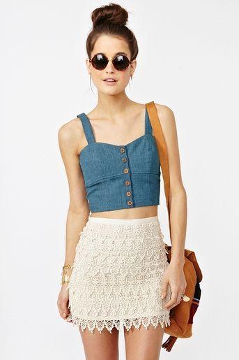 Crop Top High Waisted Skirt
