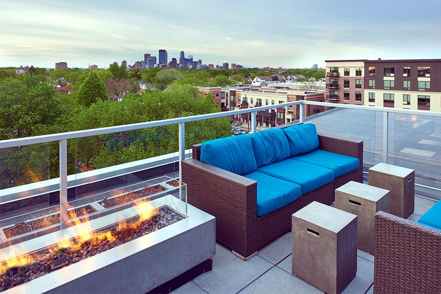 Views Of Downtown Minneapolis From The Rooftop Skydeck Rooftop Lounge Apartment Outdoor Sectional Sofa