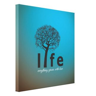 inspirational quotes with tree | Teal Inspirational Life Tree Quote Gallery Wrap Canvas