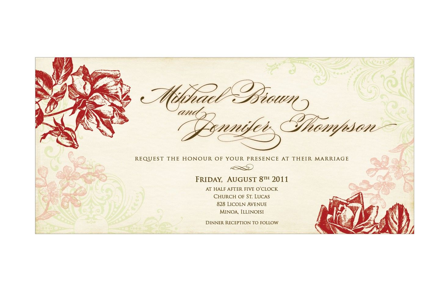 Wedding Invitation Card Sample