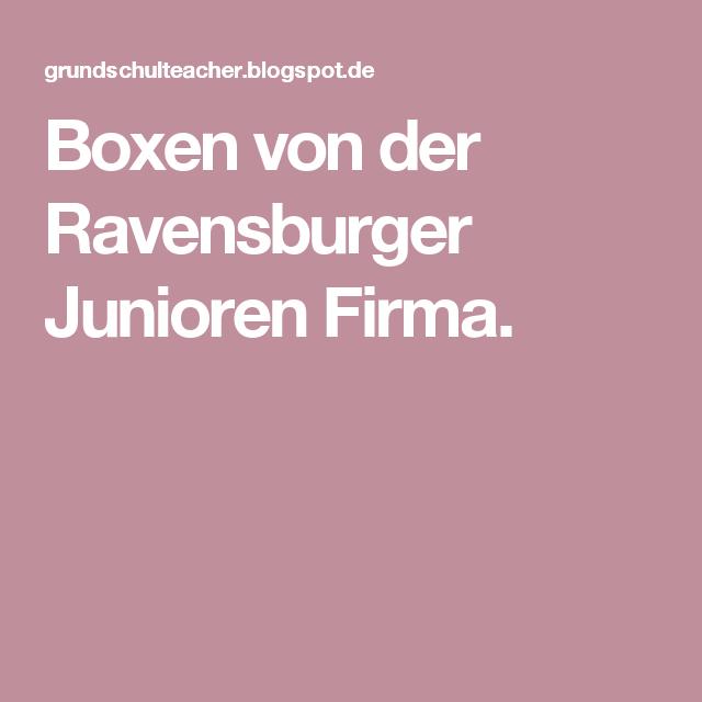 Boxen von der Ravensburger Junioren Firma.   Schule   Pinterest   Schule