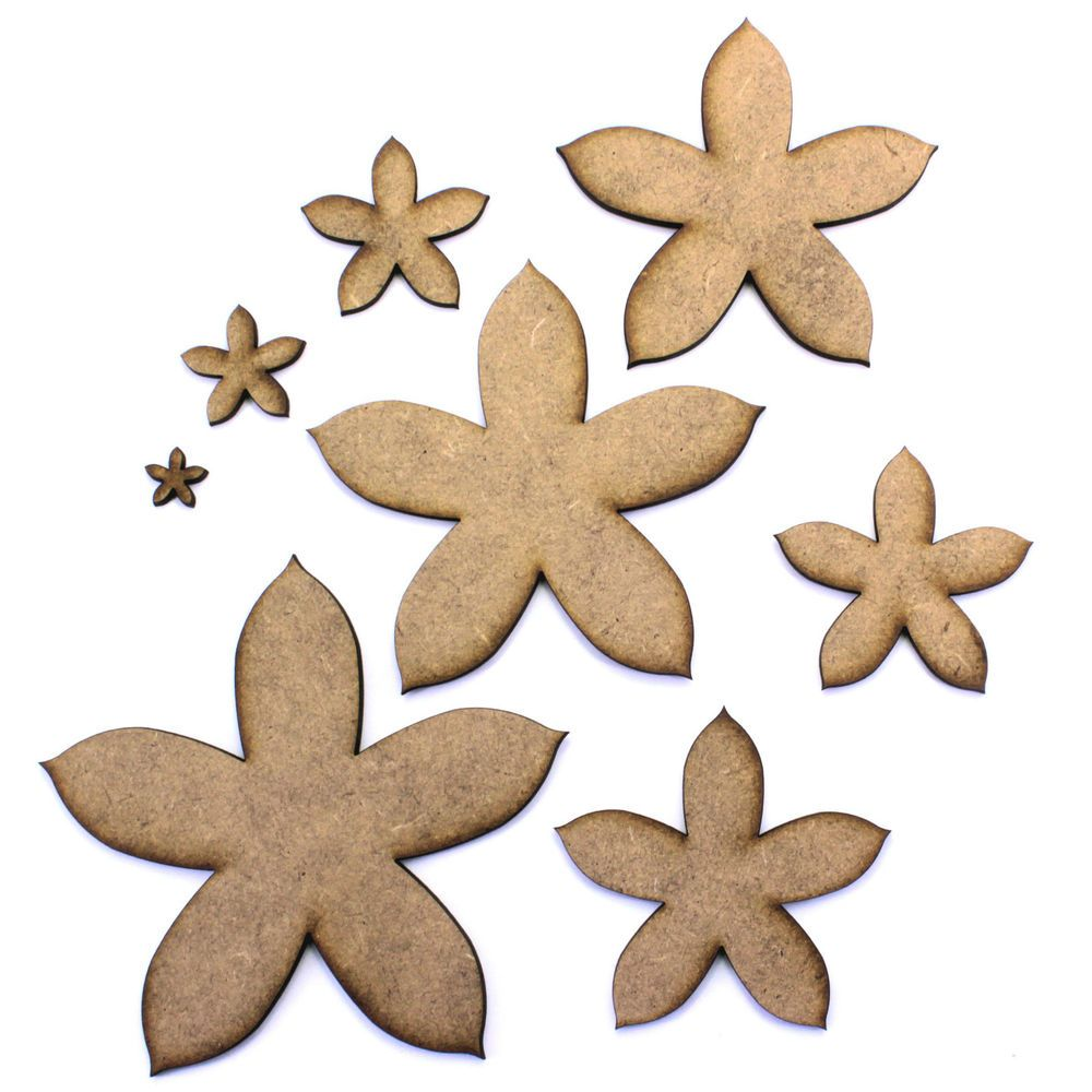 Flower Craft Shapes, Embellishments, Decorations, 2mm MDF. in Crafts, Woodworking | eBay
