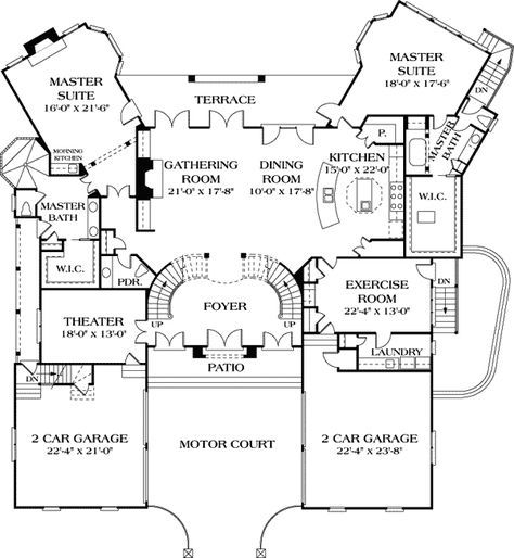 Dual Master Suites 17647lv 1st Floor Master Suite Butler Walk In Pantry Corner Lot Den Off Master Suite Floor Plan Bedroom House Plans House Floor Plans