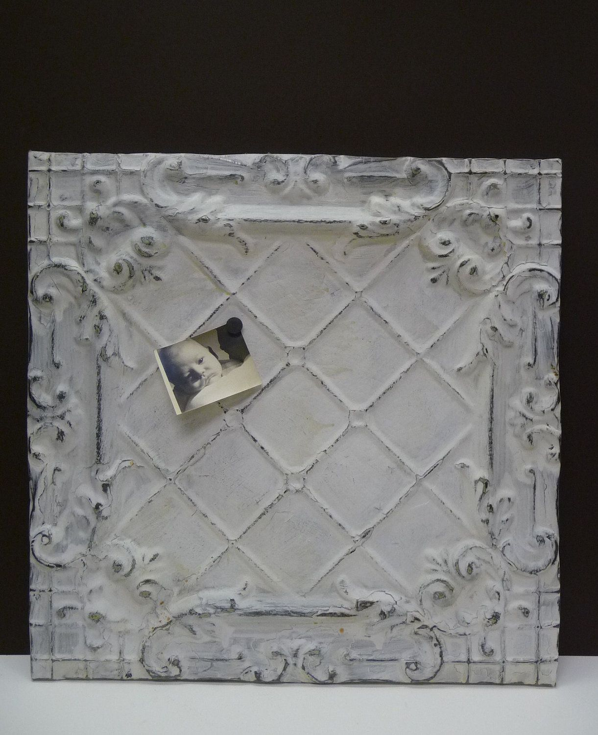antique tin ceiling tile magnet message board large chippy white decorative panel