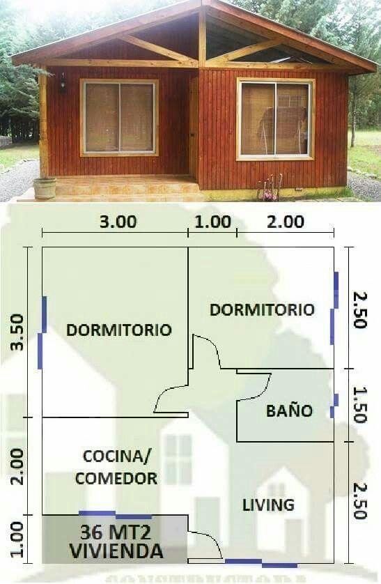 Cabanas Croquis De Casas Pequenas Planos Casa Dos Dormitorios Planos De Casas Medidas