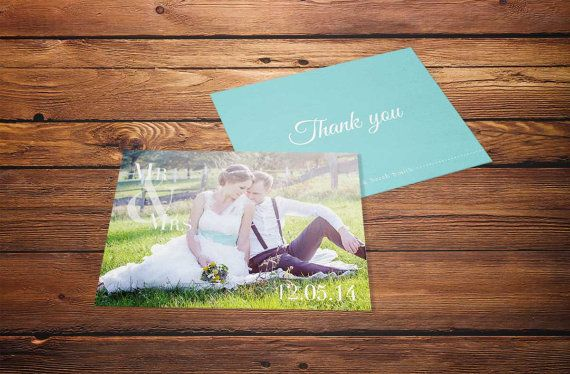 Photo Wedding Thank You Card Just Married by 4theLoveofStationery