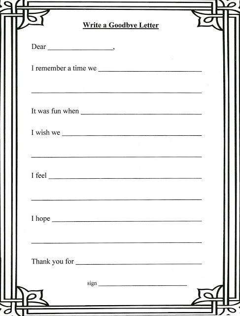 Grief Stages And Goodbye Letter Template For Children Coping With