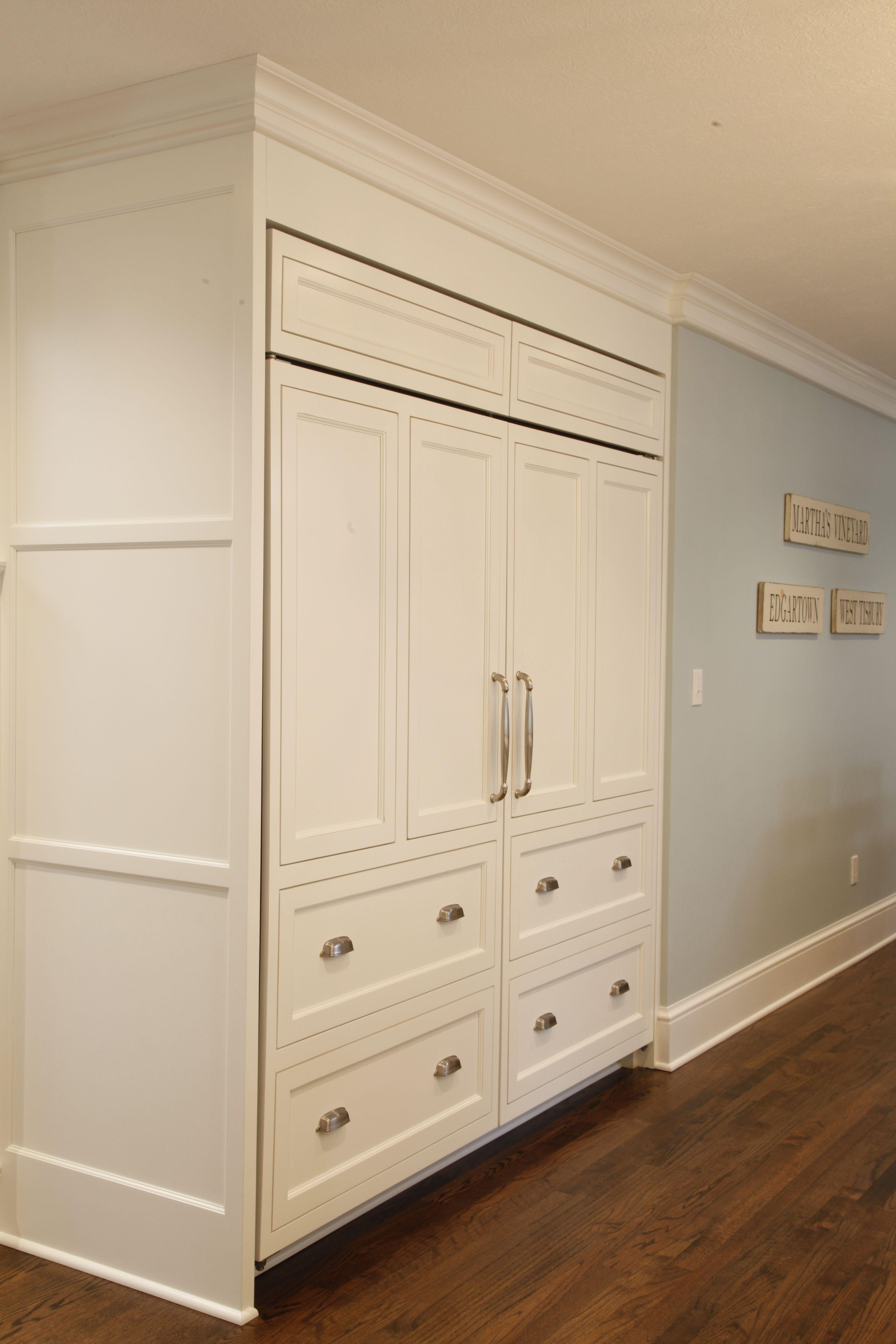 Custom Cabinet Panels Built To Cover Sub Zero Fridge Custom Cabinets Basement Remodeling Remodel