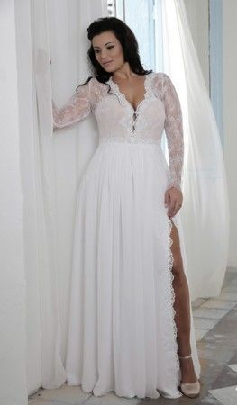 Long Sleeve Lace Bridal Gown For Plus Size Bride