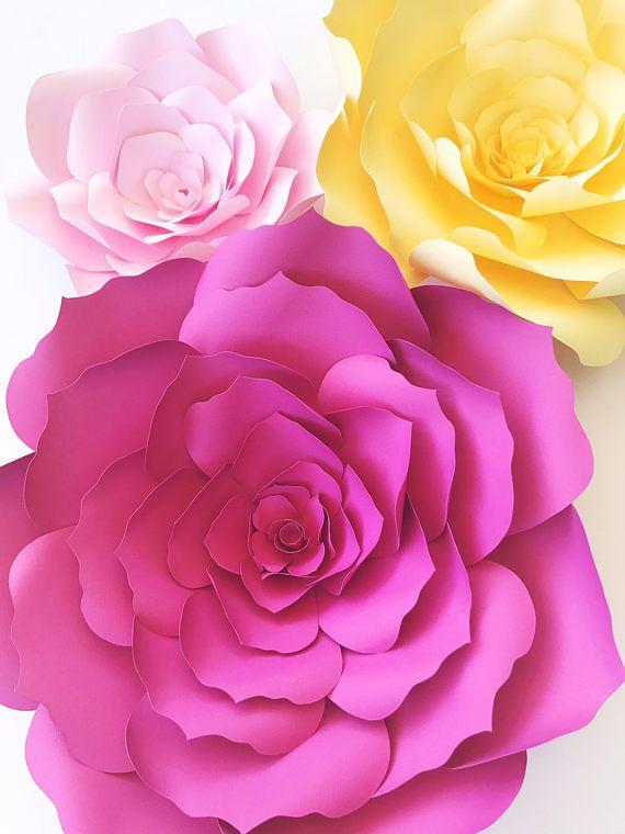 Paper flower template, DIY paper flower pattern, paper flower ...