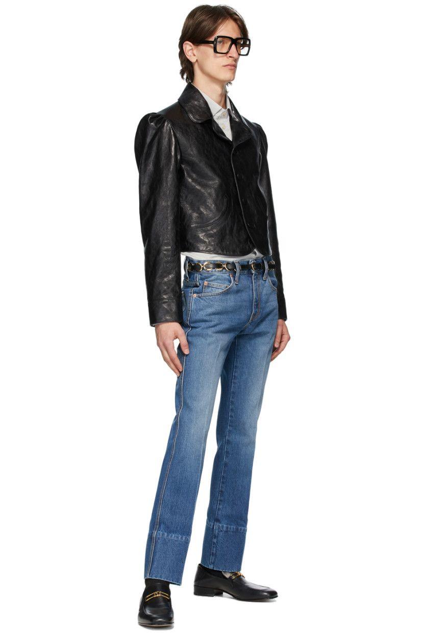 Gucci Black Shiny Leather Jacket Ssense In 2021 Leather Jacket Fashion Jackets [ 1248 x 831 Pixel ]