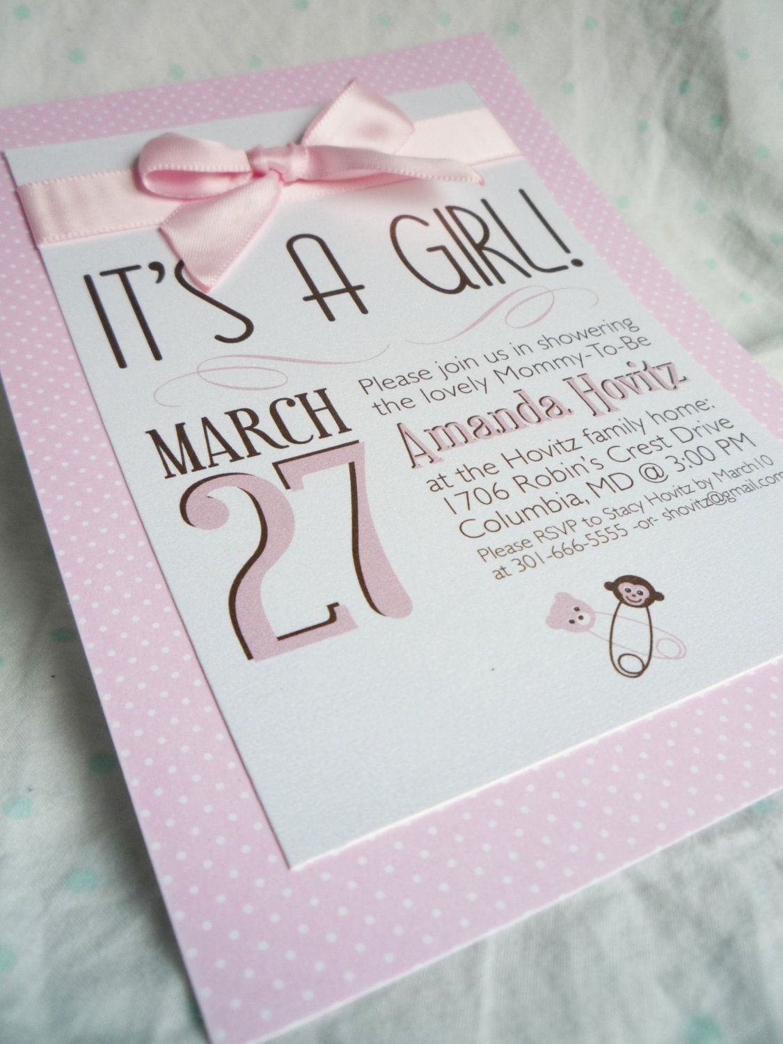 It\'s A Girl - Baby Shower Invitations | Shower invitations, Babies ...