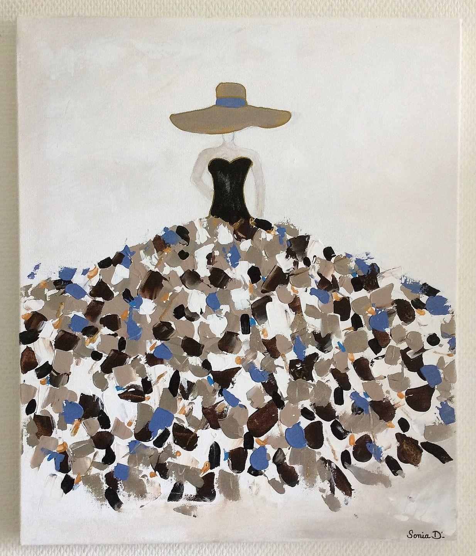 Sur 55x46 Tableau Moderne Femme Coloree Toile Robe Format PiTZuwOklX