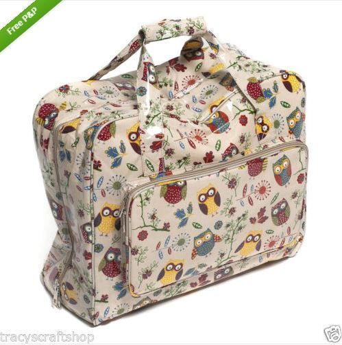 Sewing machine carry bag sewing machine case owls on beige pattern ...