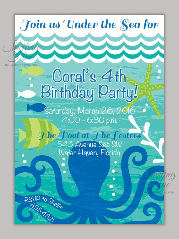 Under The Sea Ocean Invitation With Cute Octopus Fish And
