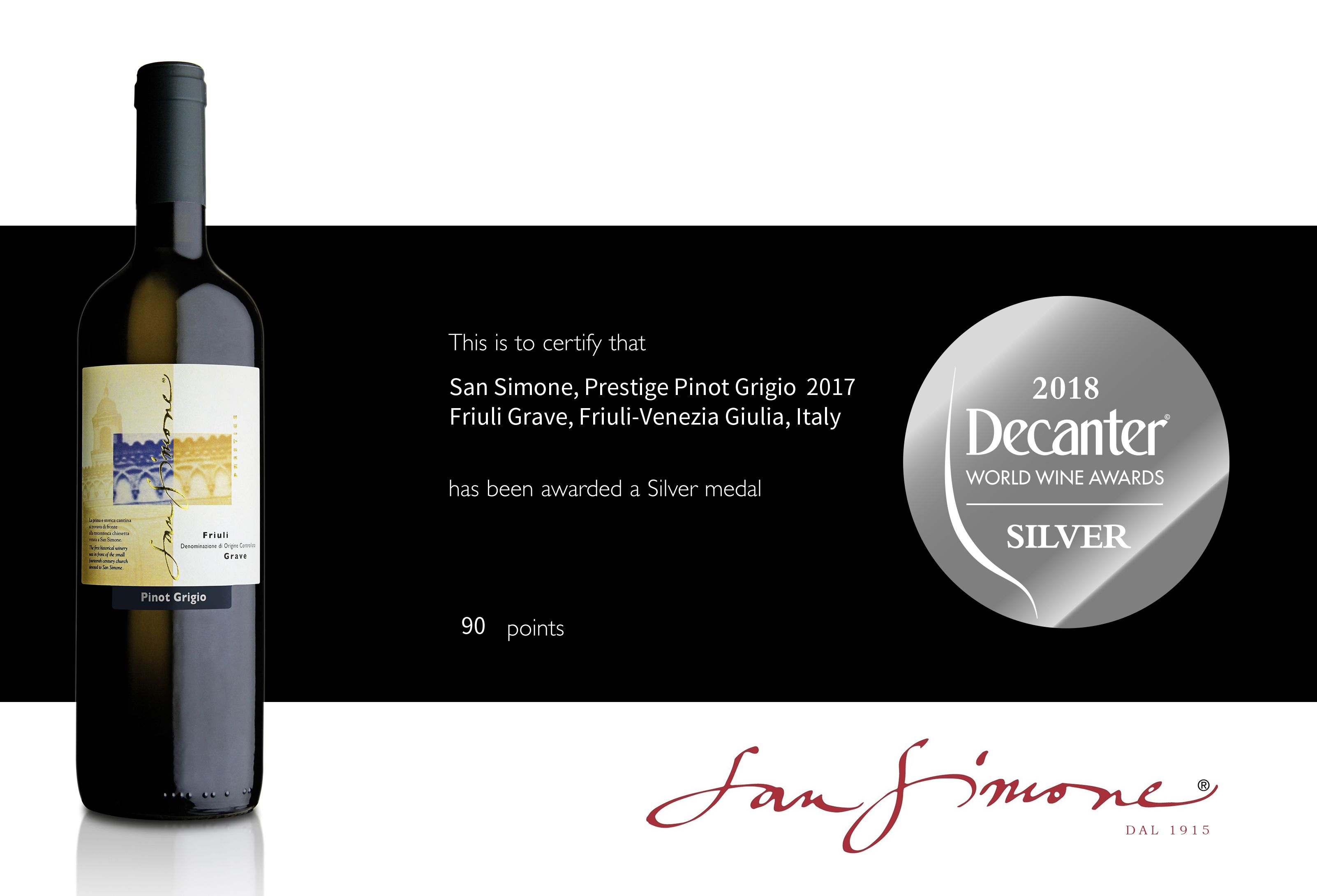 We are glad to share that our Pinot Grigio Prestige 2017 has
