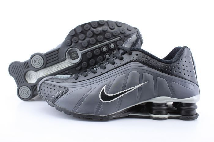 online store ec19a af6db Nike Shox R4 Mens Running Shoes Black Logo Charcoal Gray Black