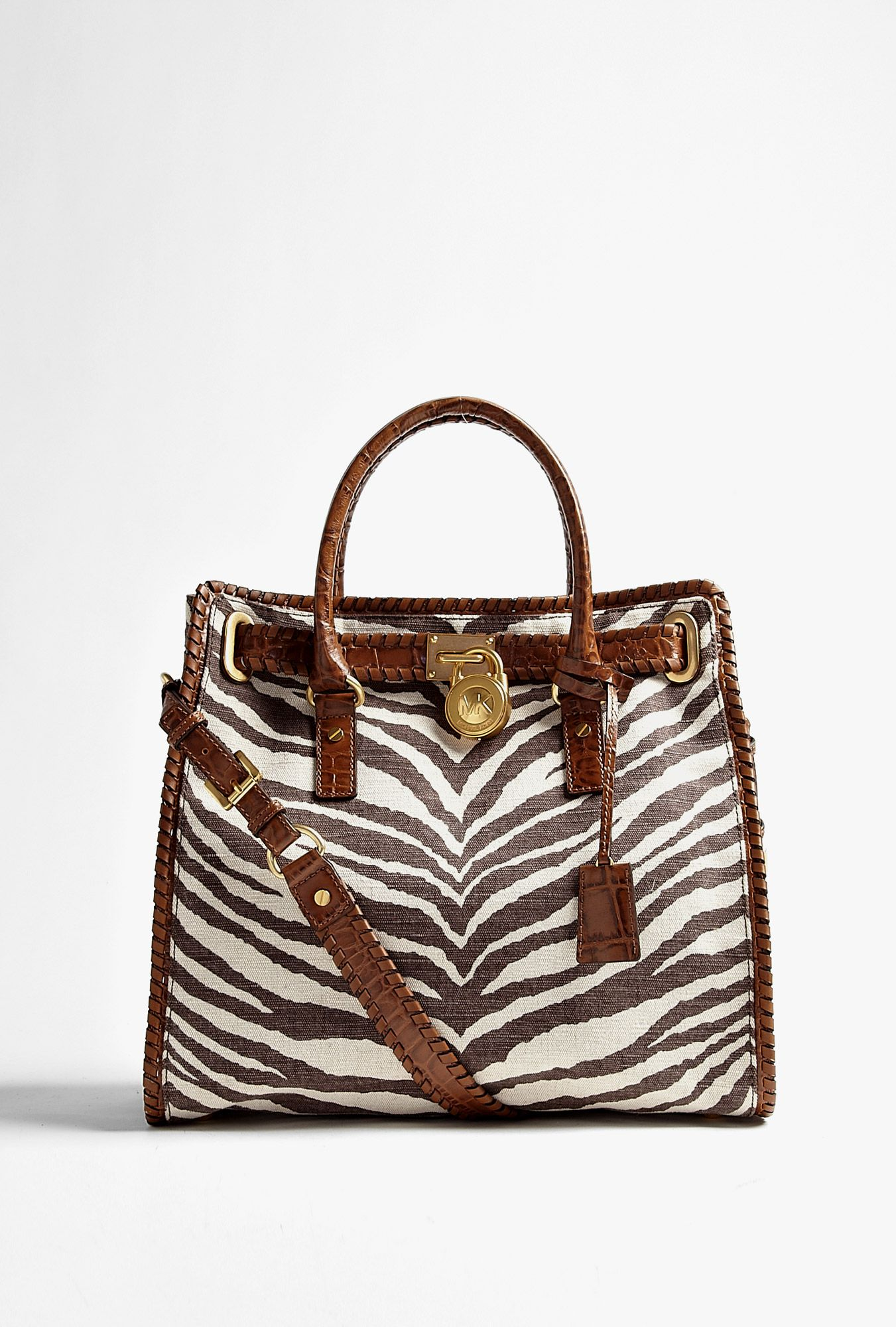 74a1d39a08b9 Zebra Printed Canvas Hamilton Whipped Large North/South Tote by Michael Kors...want!  :)