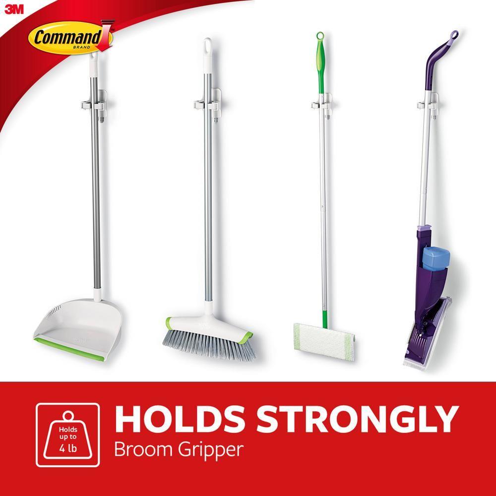 Command Broom Gripper 1 Gripper 2 Strips 17007 Es The Home Depot In 2020 Broom Holder Broom Storage Best Broom